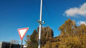 Установка камер видеонаблюдения на опоре освещения